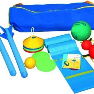 sac bleu, apprendre à lancer, kit, plots, balles, aide pour enfants